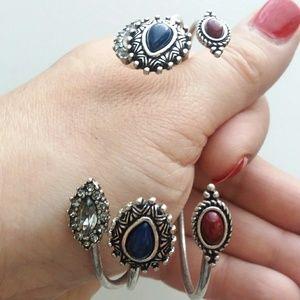 Boho Chic Jeweled Bangle Bracelet Trio Stack